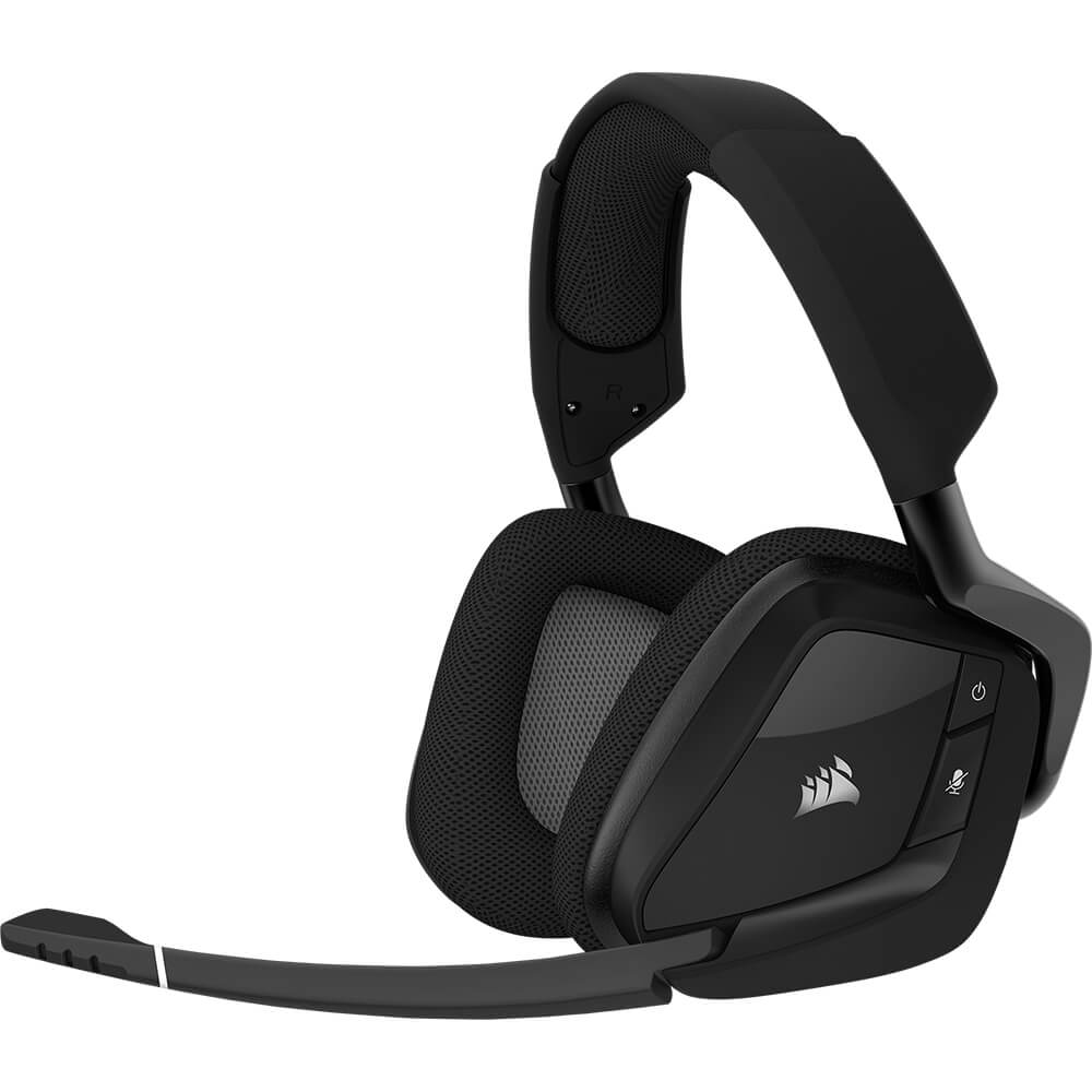 Angled left side view of the Corsair Void Pro wireless gaming headset featuing 50mm drivers, 16 hours of battery life, and RGB lighting