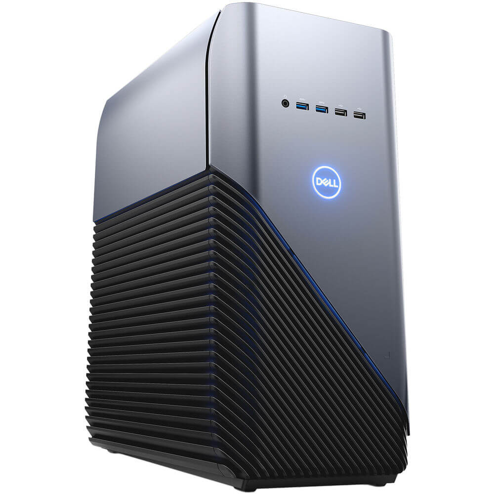 Angled left side view of the Dell Inspiron gaming desktop specd with the Intel I5 CPU, GTX 1060 GPU, 8GBs of RAM, 1TB of HDD, and Windows 10- I56805382BLU