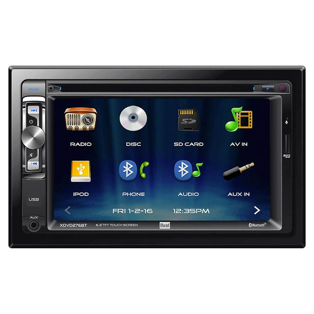 Front view of the double DIN Dual car radio specd with a 6.2 inch touchscreen, DVD receiver, and built-in bluetooth- XDVD276