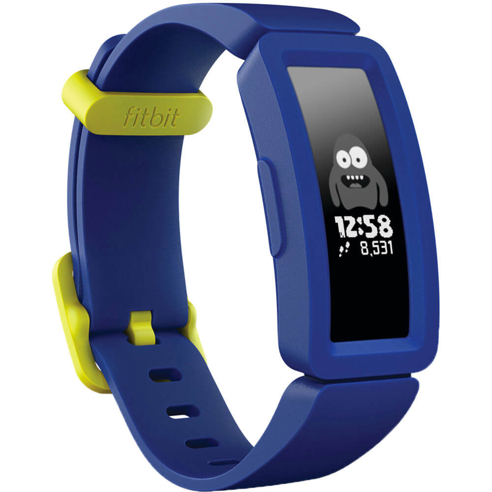 Angled front view of the blue Fitbit Ace 2 kids activity tracker watch- FB414BKBU