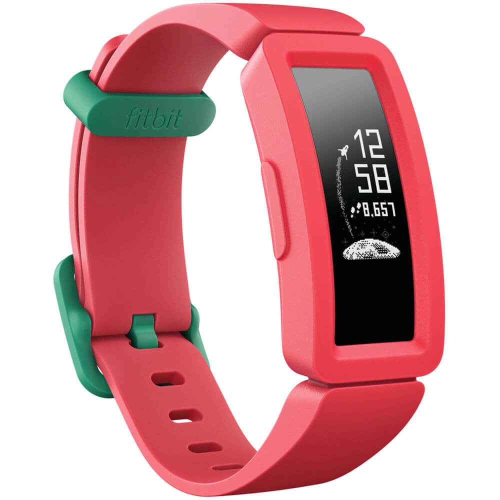 Angled front view of the watermelon color Fitbit Ace 2 Kids activity tracker watch- FB414BKPK