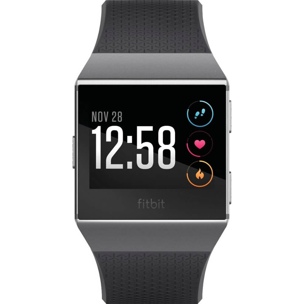 Front view of the charcoal colored fitbit Ionic fitness watch- FB503GYBK
