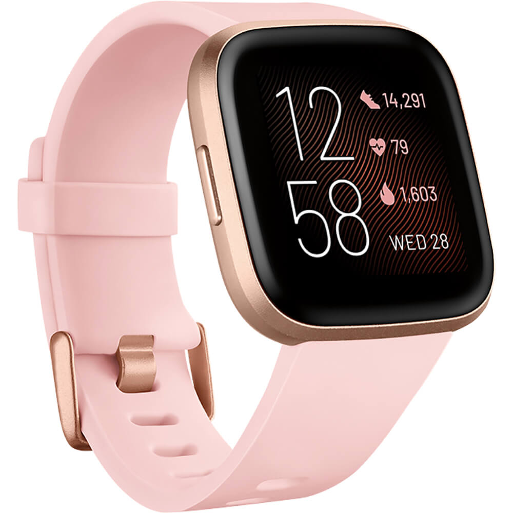 Angled front view of the pink Fitbit Versa 2 fitness smart watch- FB507RGPK
