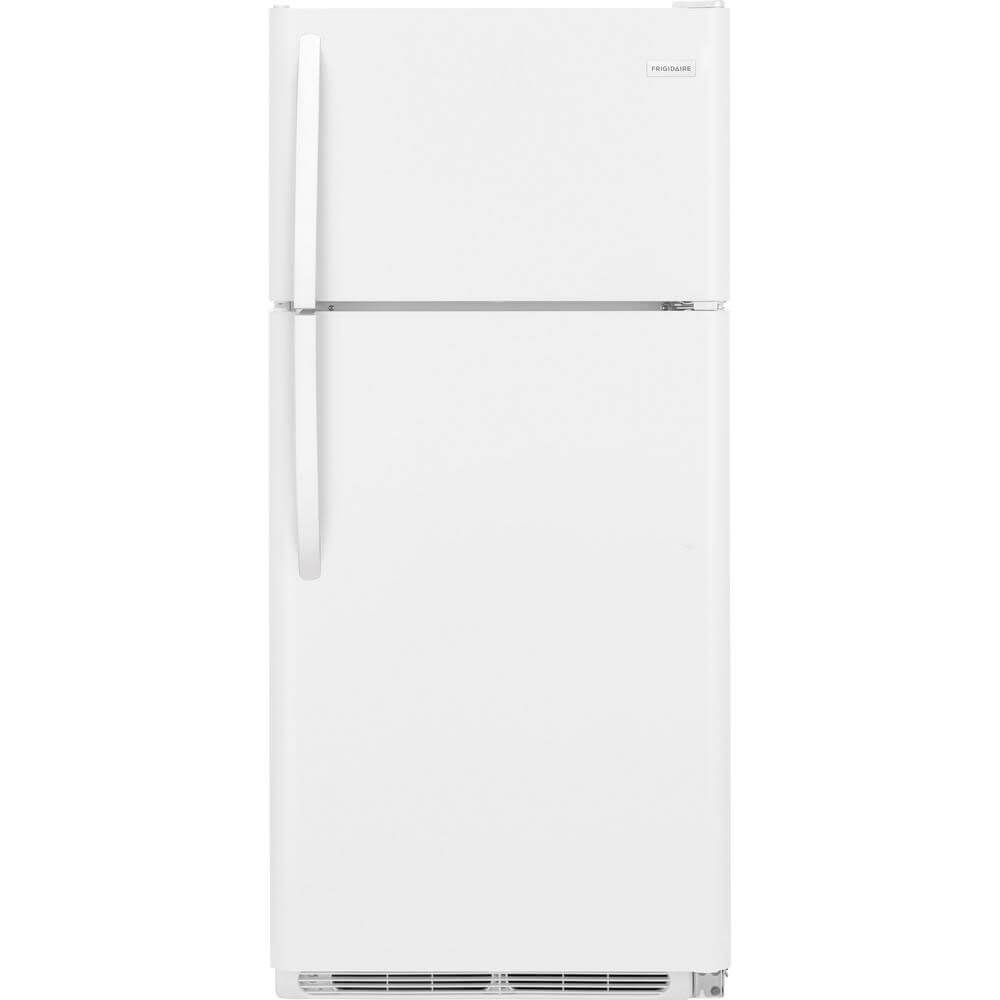 Front view of the 18 cubic foot white Frigidaire top freezer refrigerator- FFTR1821TW
