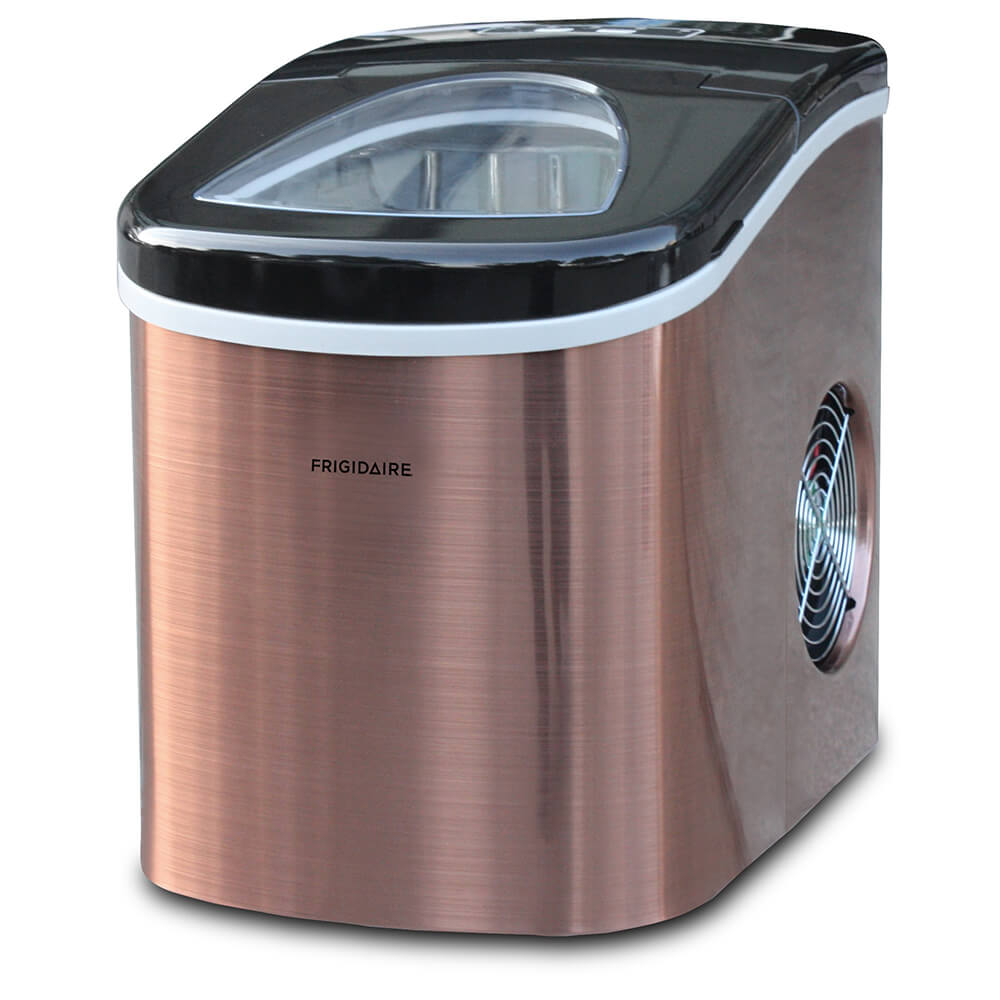 Angled front view of the copper 26lb portable countertop Frigidaire icemaker- EFIC117SSCOP