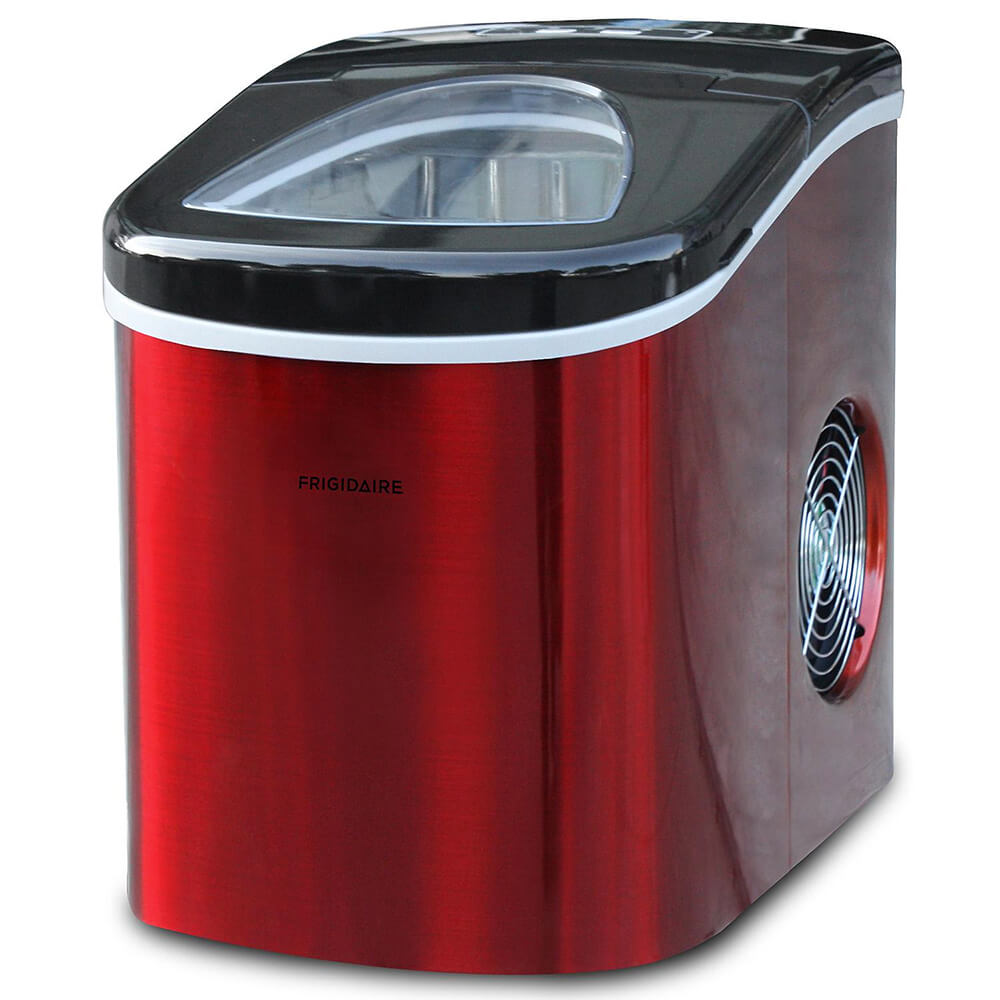 Angled front view of the red 26lb portable Frigidaire ice maker- EFIC117SSRED