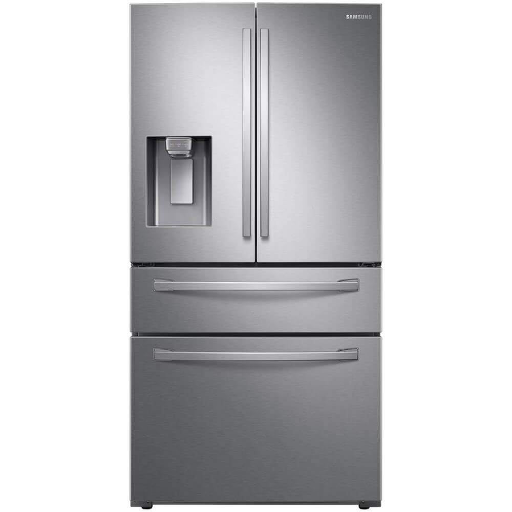 Front view of Samsung RF24R7201SR 24 Cu.Ft. Stainless 4-Door French Door Refrigerator