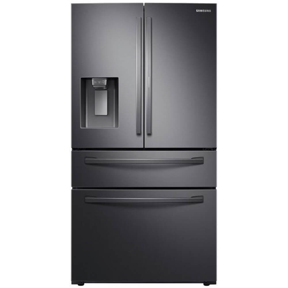 Front view of Samsung RF28R7351SG 27.8 Cu. Ft. Black Stainless 4-Door French Door Refrigerator