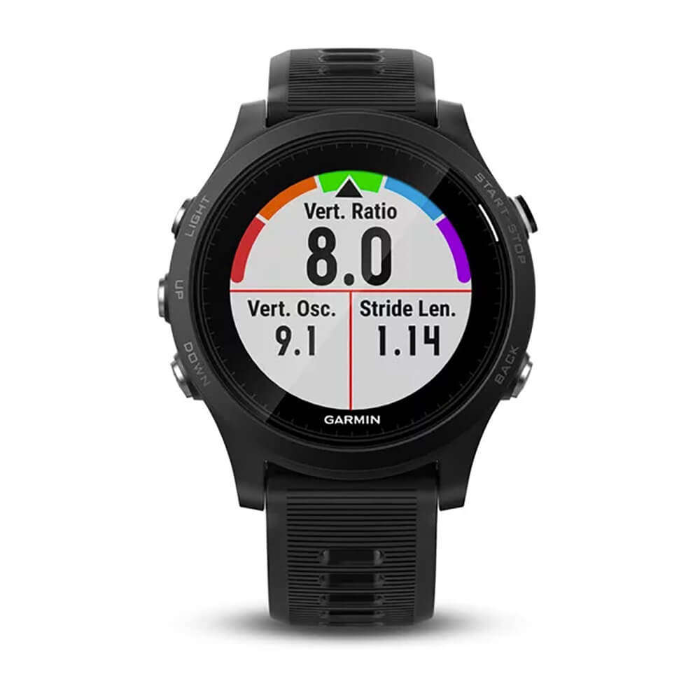Front view of the black Garmin Forerunner 935 smartwatch- FORERUN935RB