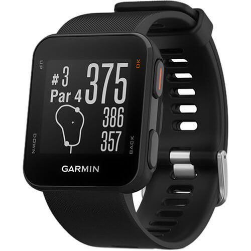 Angled front view of the black Garmin Approach S10 golf watch- APPROS10BLK