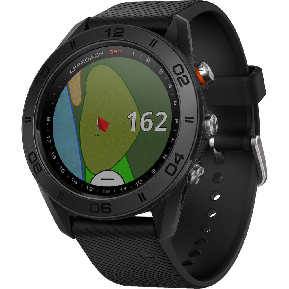 Angled front view of the black Garmin Approach S60 golf watch- APPROACHS60B