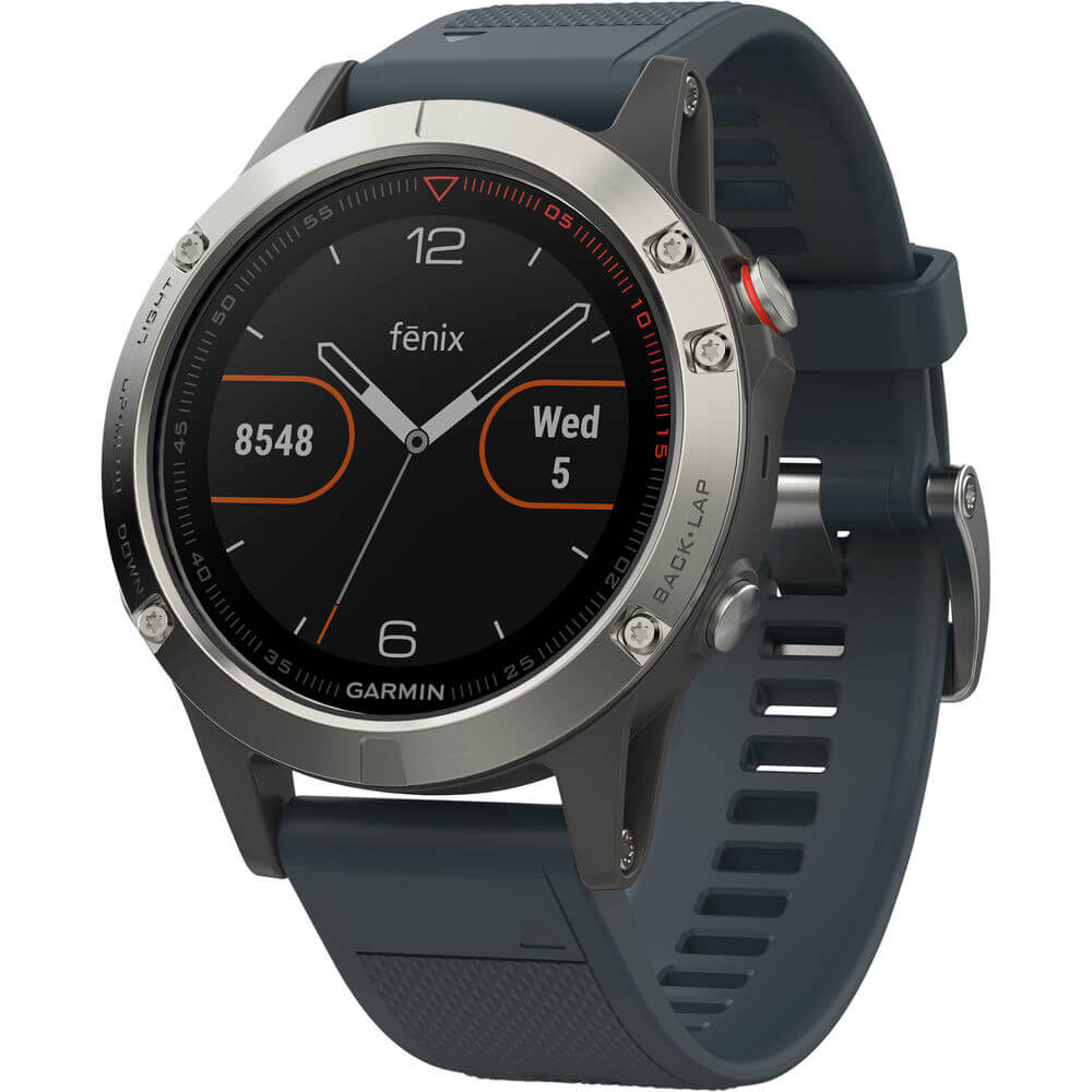 Angled front view of the silver Garmin Fenix 5 training watch with blue watch band- FENIX5SLVBLU