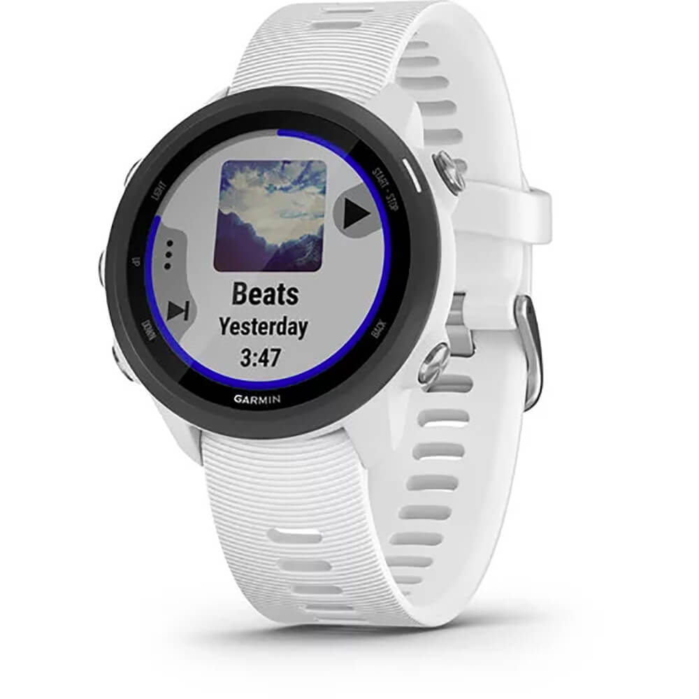 Angled front view of the white Garmin Forerunner 245 music streaming smartwatch- FORERUN245MW