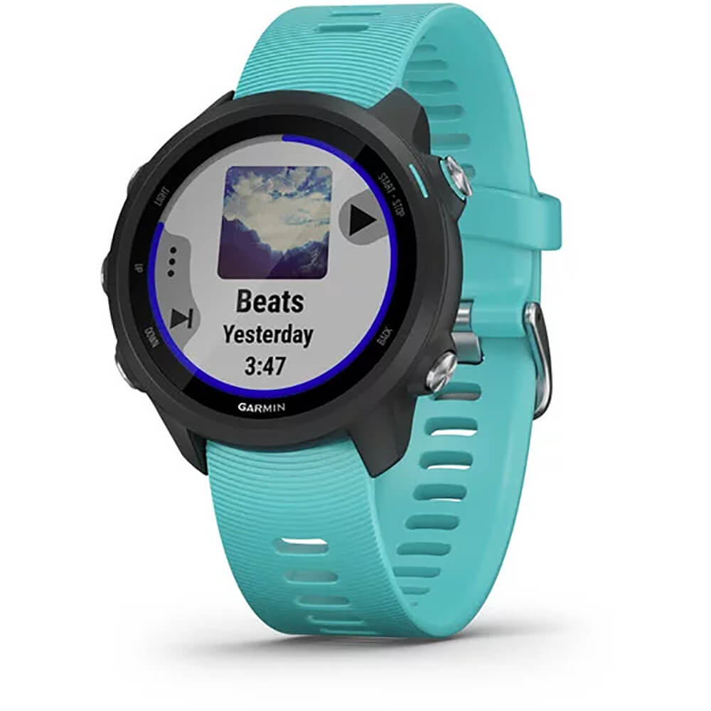 Angled front view of the black Garmin Forerunner 245 music streaming smartwatch with a teal watch band- FORERUN245MA