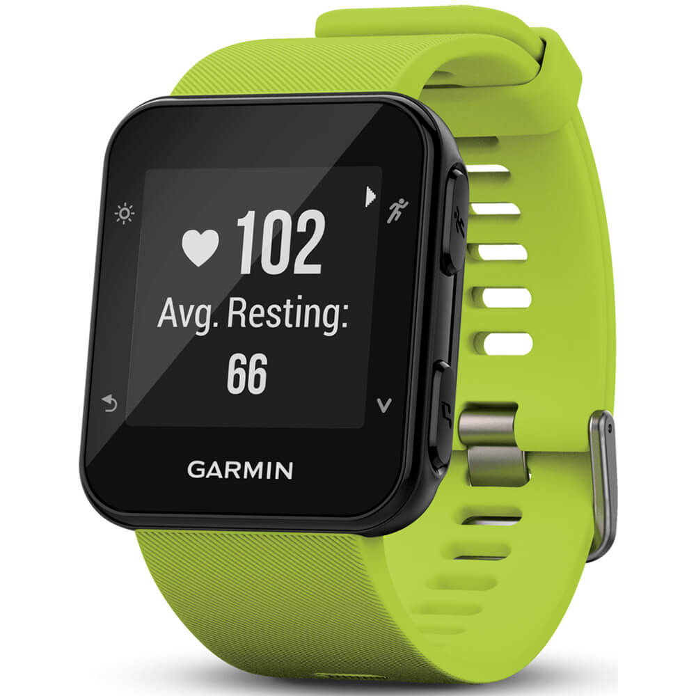 Angled front view of the lime green Garmin Forerunner 35 running smart watch- FORERUN35LME