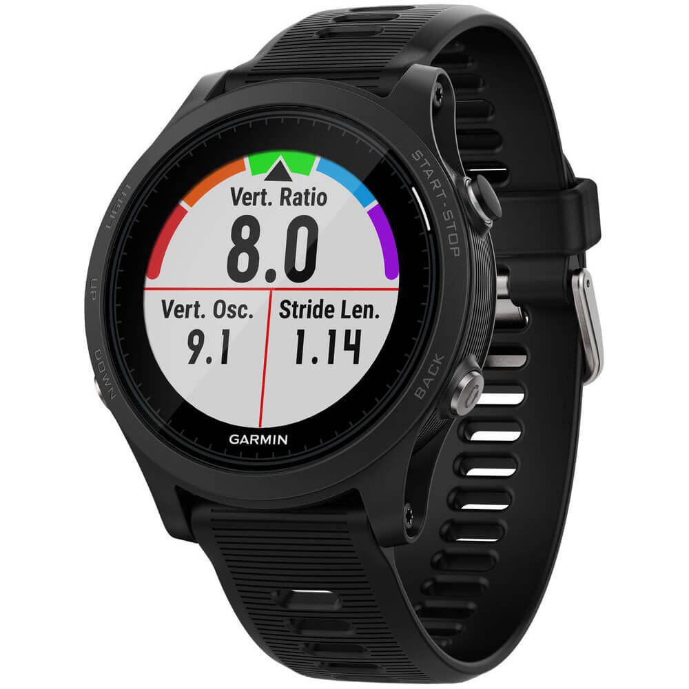 Angled front view of the Garmin Forerunner 935 black running watch- FORERUN935BK