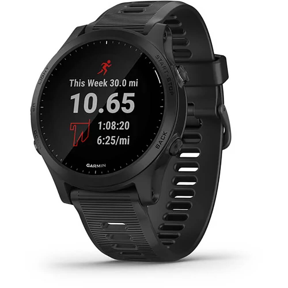 Angled front view of the black Garmin Forerunner 945 fitness smart watch- FORERUN945BK