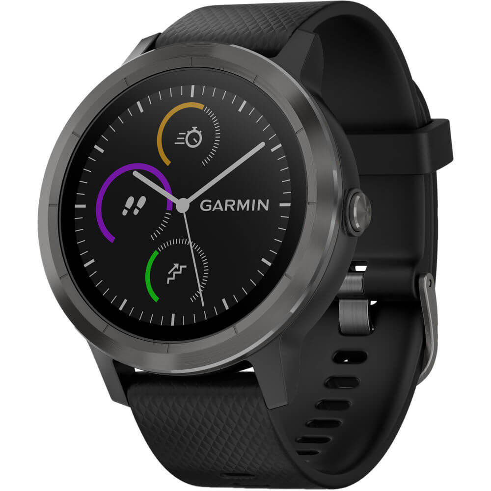 Angled front view of the black Garmin vivoactive 3 smart watch- VIVOACTIVE3S
