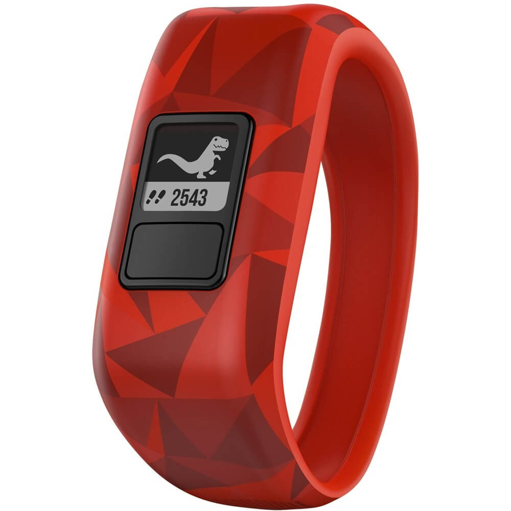 Angled front view of the red Garmin Vivofit Jr activity tracker watch- VIVOFITJR