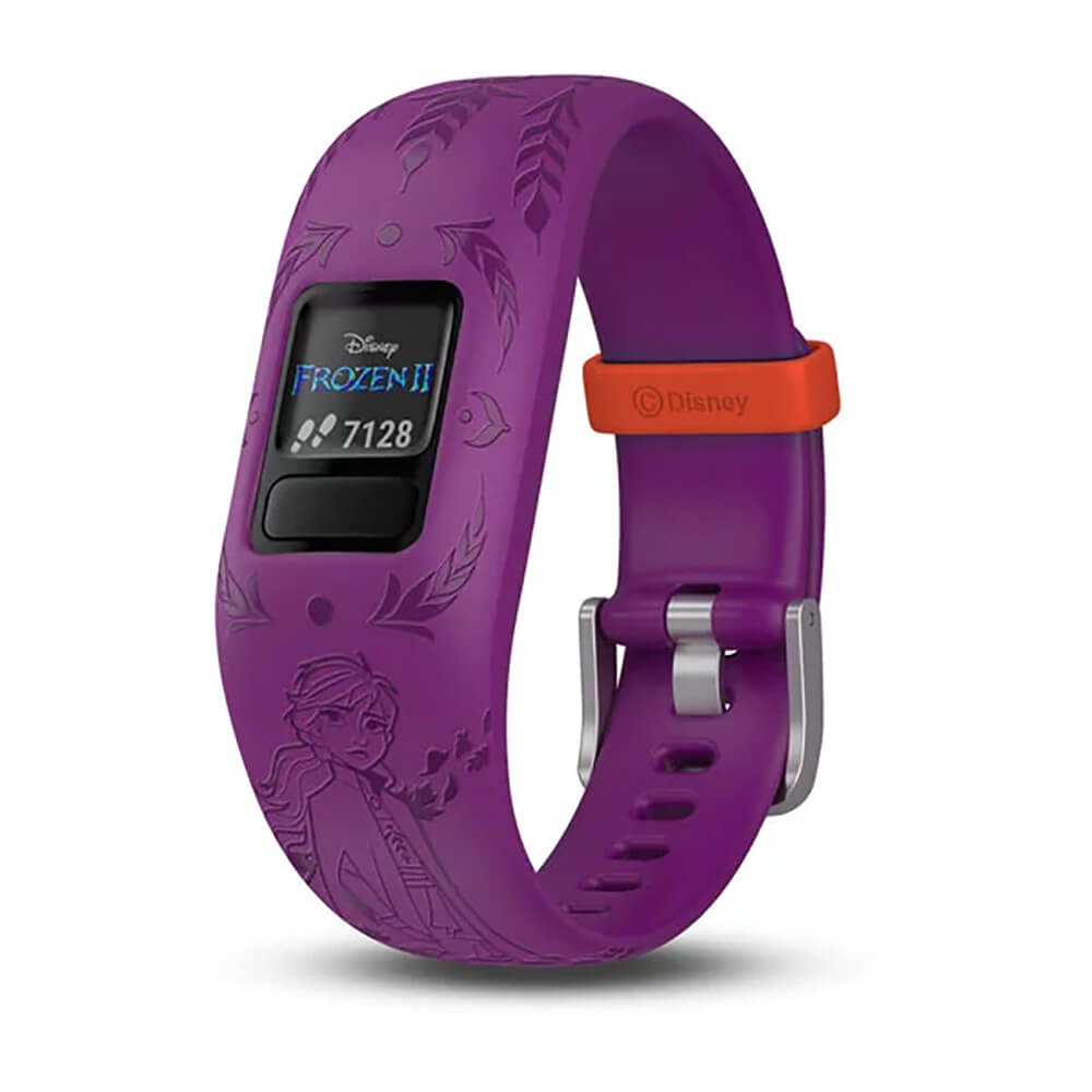 Angled front view of the Frozen 2 themed with Anna on the Garmin Kids fitness activity tracker watch- VIVOFITJR2AN