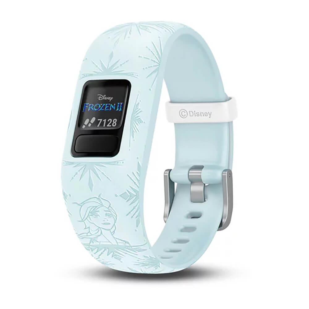Angled front view with Elsa from Frozen 2 on the Garmin Kids fitness activity tracker watch- VIVOFITJR2EL