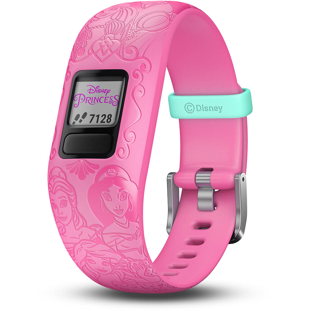 Angled front view of the pink Garmin Kids fitness activity tracker watch- VIVOFITJR2PI