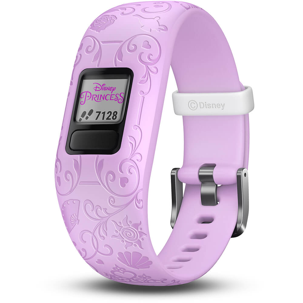 Angled front view of the pink Garmin Kids fitness activity tracker- VIVOFITJR2PU