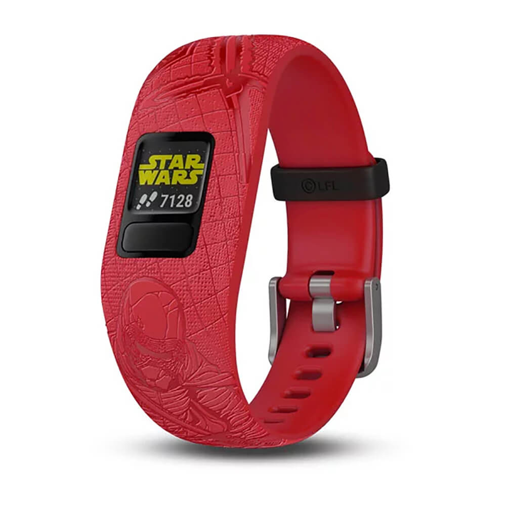 Angled front view of the Star Wars dark side theme of the Garmin Kids fitness activity tracker watch- VIVOFITJRDK