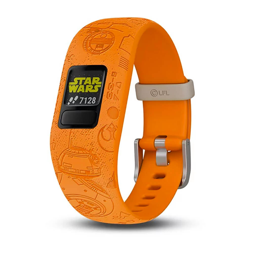 Angled front view of the Star Wars themed Garmin Kids activity tracker watch- VIVOFITJR2LI