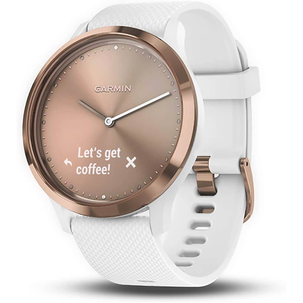 Angle view of the rose gold Garmin vivomove HR smart sports watch with a white watch band- VIVOMOVEHRRG