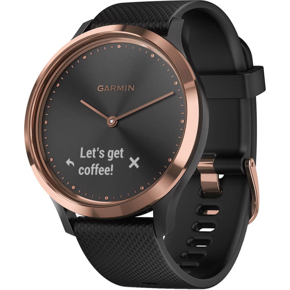 Angled front view of the rose gold Garmin vivomove HR smart sports watch with a black watch band- VIVOMOVEHRBG