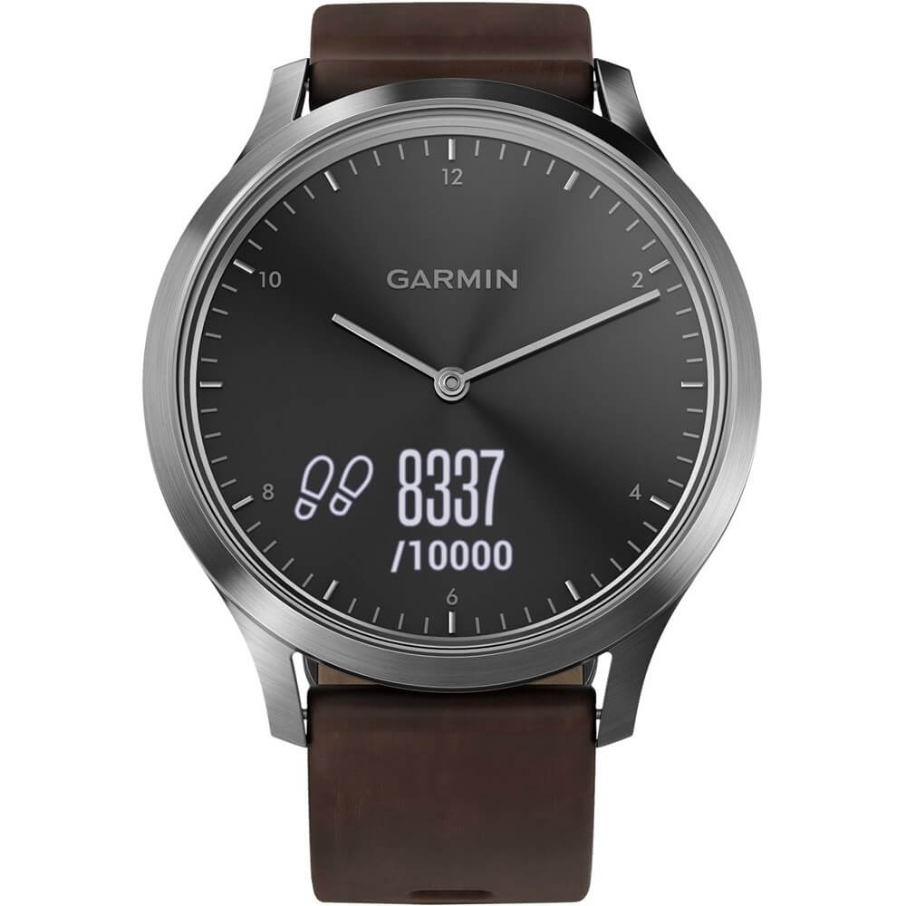 Front view of the dark silver Garmin vivomove HR sports watch with brown leather watch band- VIVOMOVEHRPR