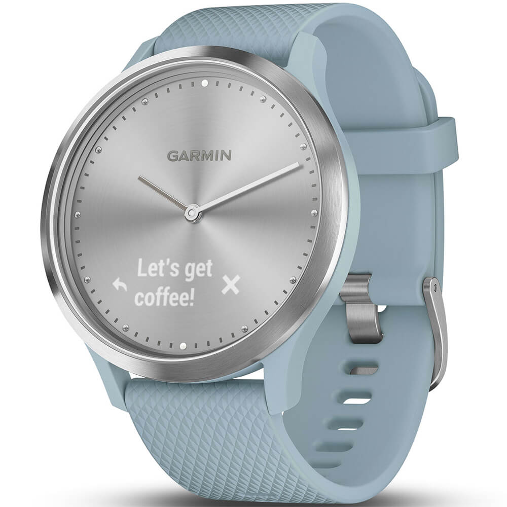 Left view of the silver Garmin vivomove HR smart sports watch with a sea foam colored watch band- VIVOMOVEHRSS