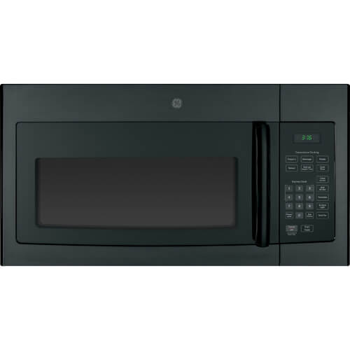 Front view of the 1.6 cubic foot black GE OTR microwave- JVM3160DFBB