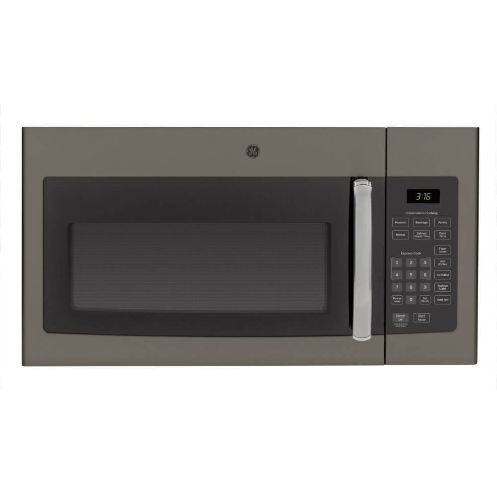 Front view of the 1.6 cubic foot slate GE OTR microwave- JVM3160EFES