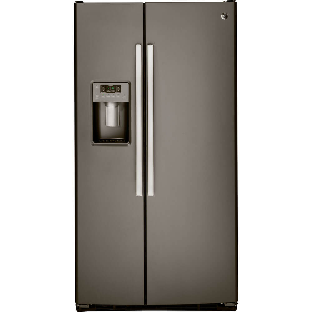 Front view of the 25 cubic foot slate GE side-by-side refrigerator- GSS25GMHES