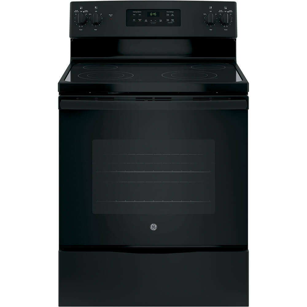 Front view of the 5.3 cubic foot black GE electric range- JB645DKBB