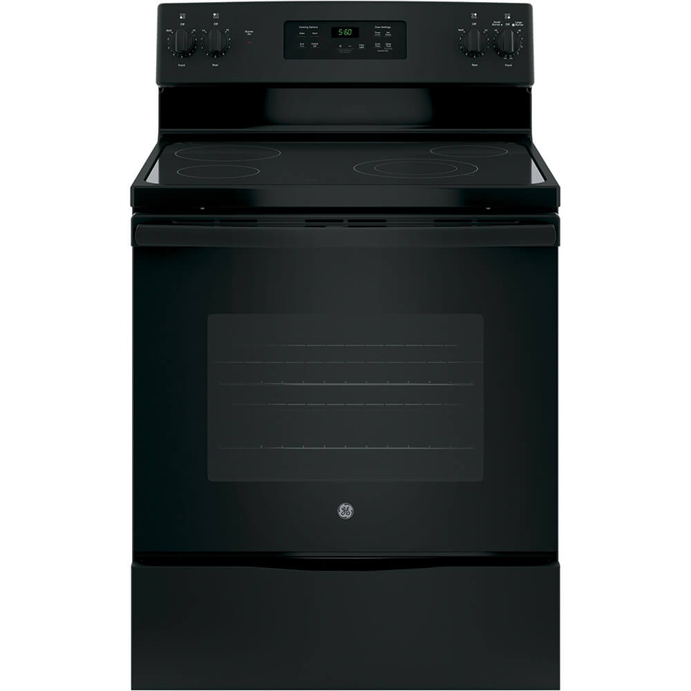 Front view of the 5.3 cubic foot black GE electric range- JBS60DKBB