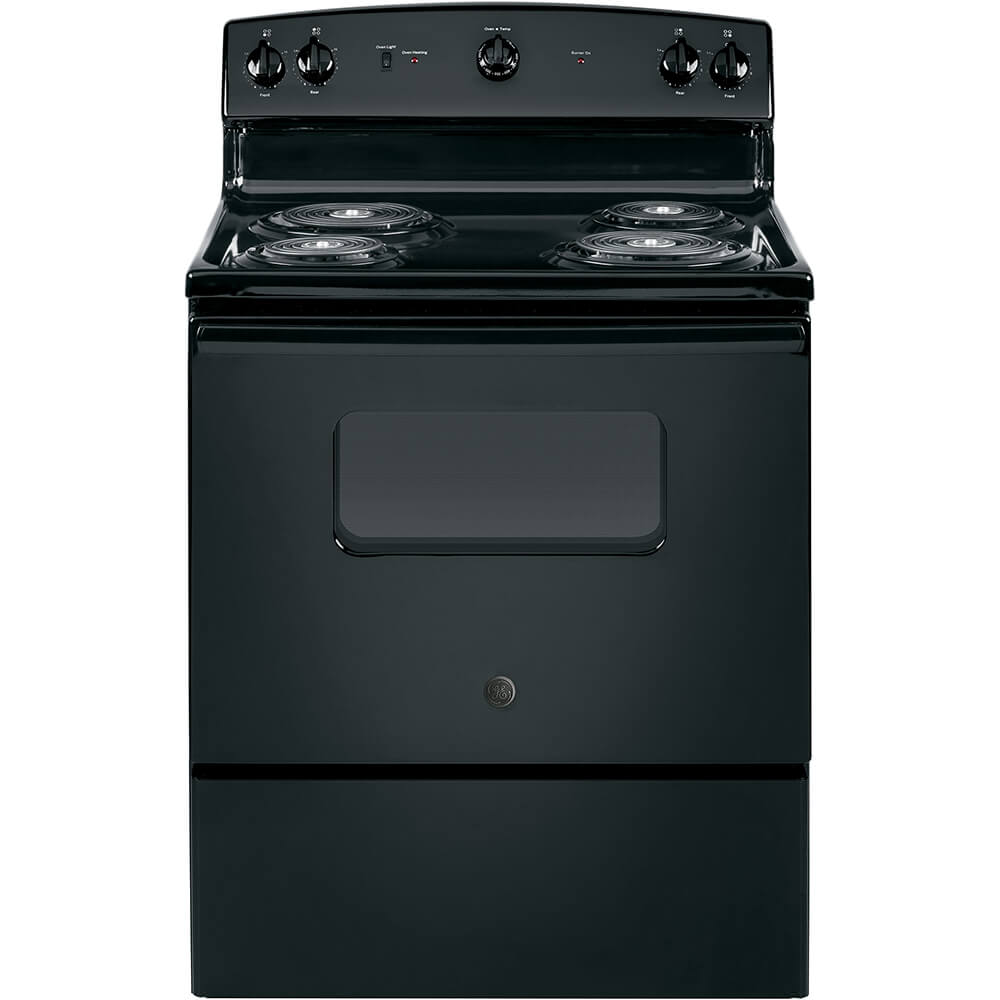 Front view of the 5 cubic foot black GE coil top electric range- JBS160DMBB