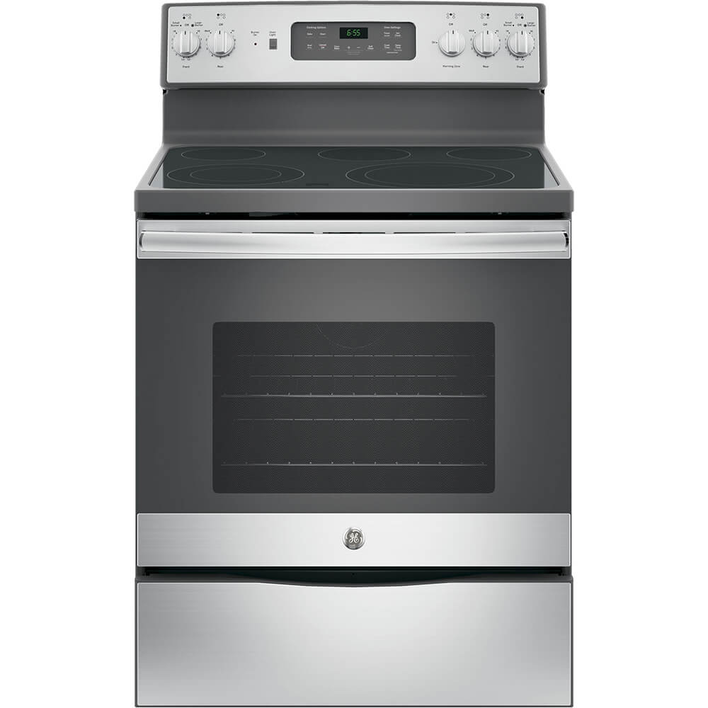 Front view of the 5.3 cubic foot stainless steel GE 5 element electric range- JB655SKSS