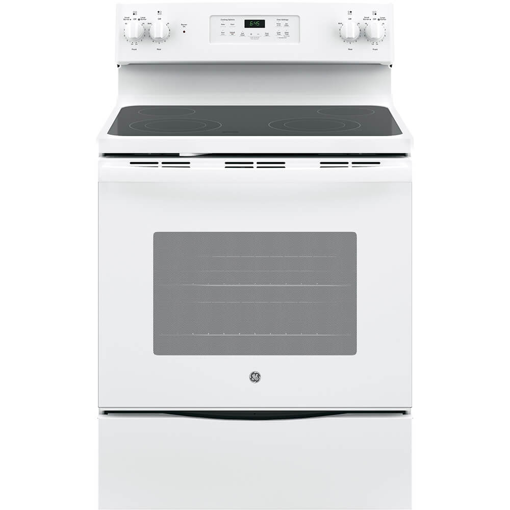 Front view of the 5.3 cubic foot white GE electric range- JB645DKWW