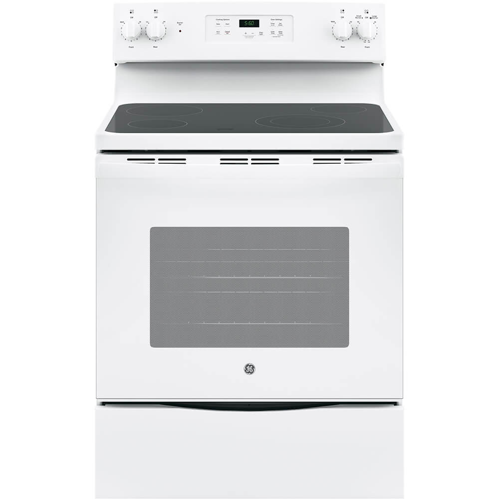 Front view of the 5.3 cubic foot white GE electric range- JBS60DKWW