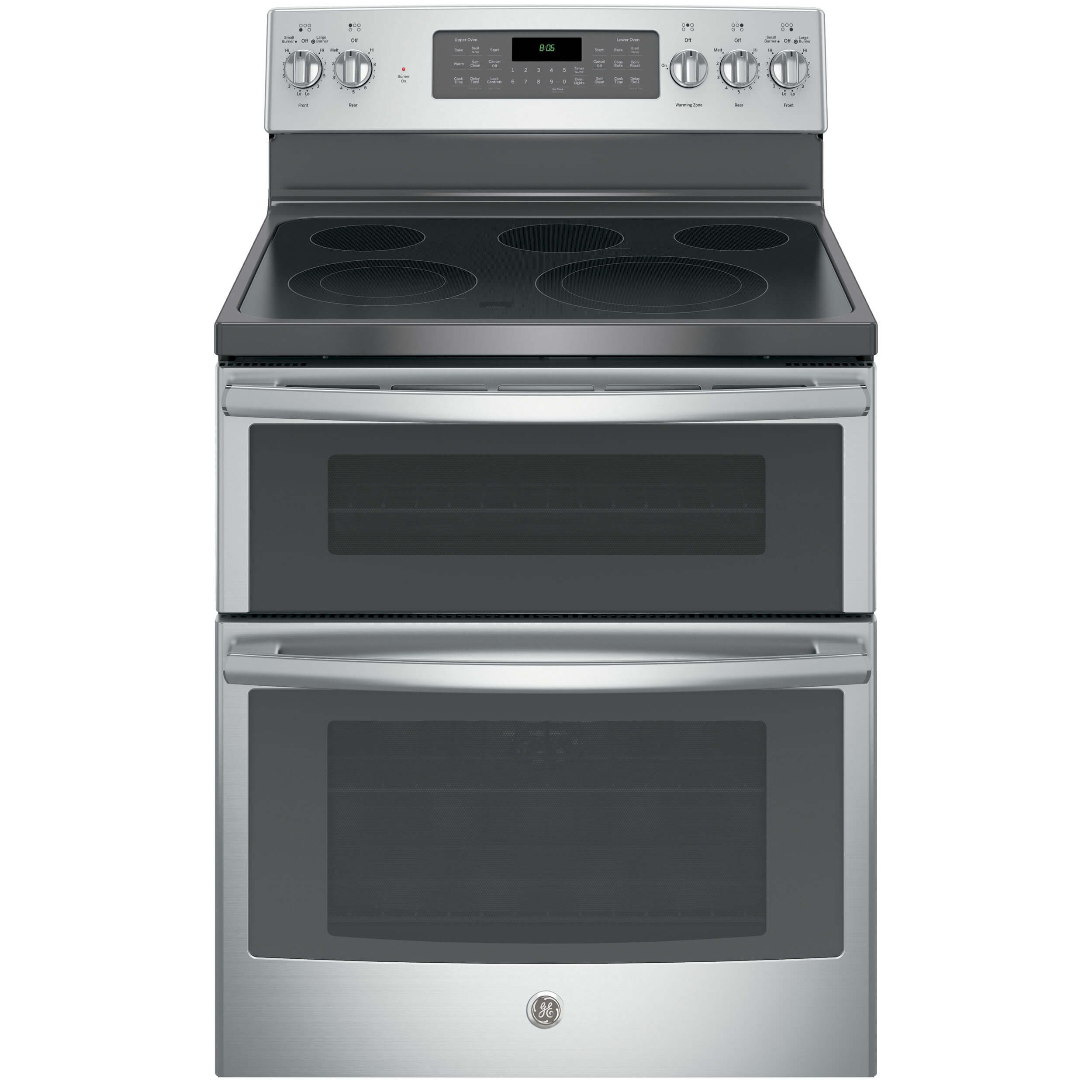 Front view of the 6.6 cubic foot stainless steel GE double oven range- JB860SJSS