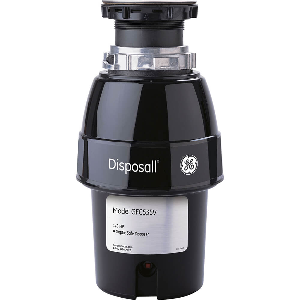 Front view of the one-fifth horsepower garbage disposer by GE- GFC535V