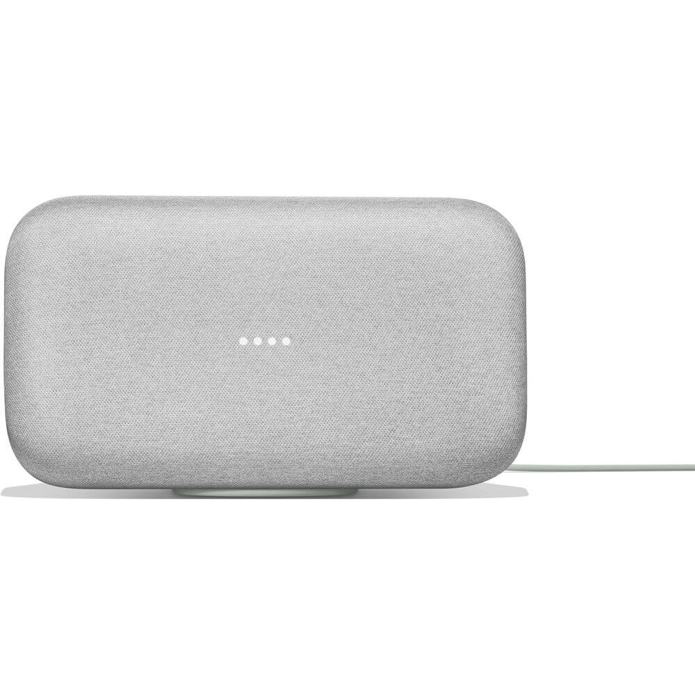 Front view of the chalk white Google Home Max smart speaker- GA00222US