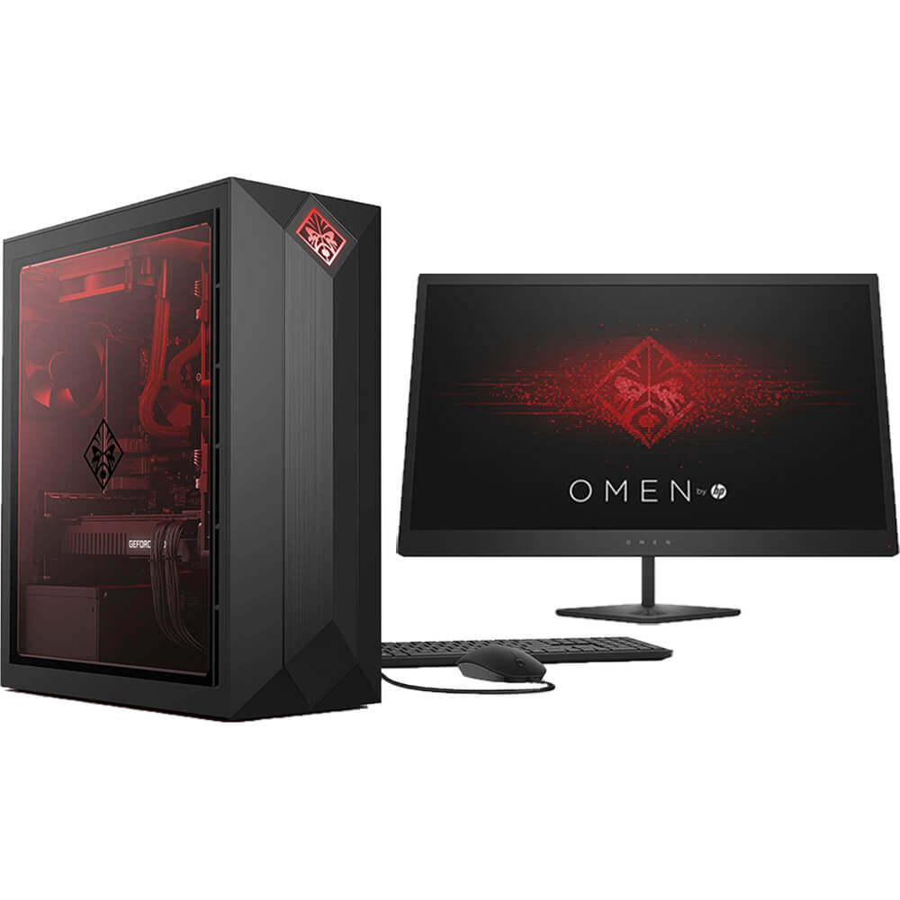 Front view of the HP Omen bundle featuring a gaming desktop and gaming monitor that are specd with the Intel I7 CPU, RTX 2060 GPU, 16GBs of RAM, 512GBs of HDD storage, and a 24