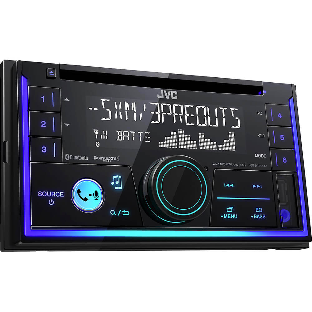 Angled front view of the double DIN JVC CD car radio with built-in bluetooth- KWR940