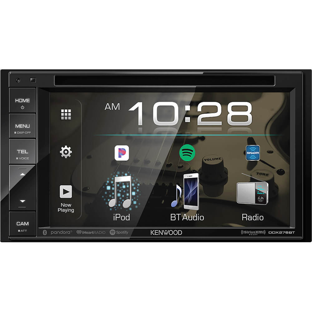Front view of the double din Kenwood car radio specd with a 6.2 inch touchscreen, back-up camera input, and built-in bluetooth- DDX276