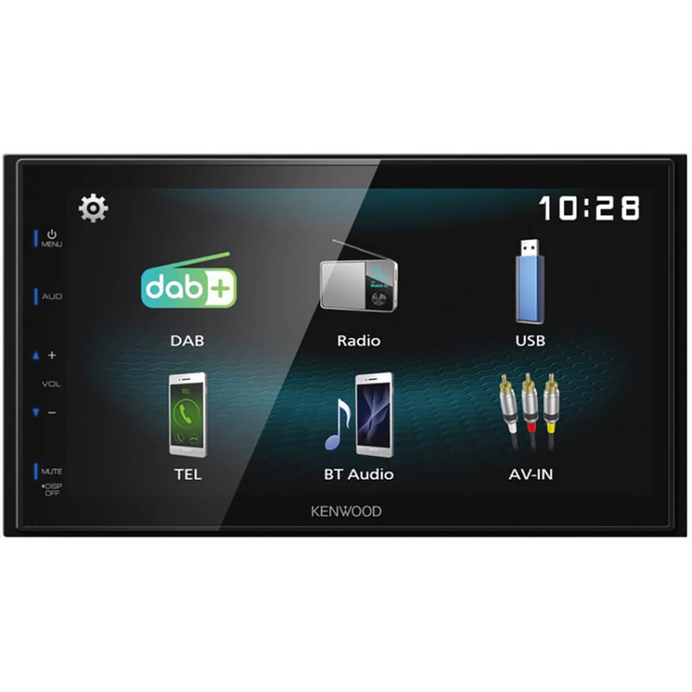 Front view of the double din Kenwood car radio specd with a 6.8 inch touchscreen, back-up camera input, and built-in bluetooth- DMX125