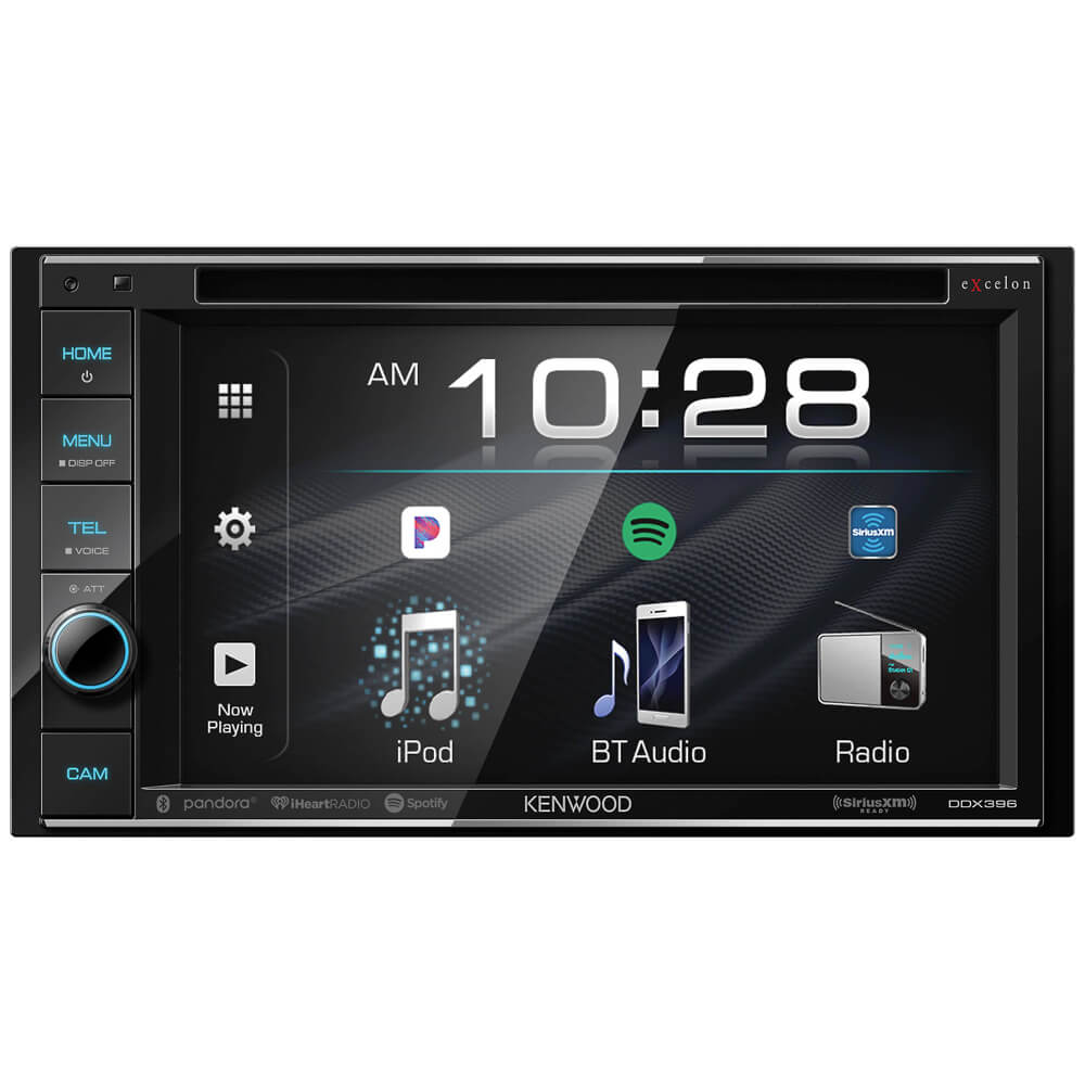 Front view of the double din Kenwood eXecelon car radio specd with a 6.2 inch touchscreen, DVD receiver, and built-in bluetooth- DDX396